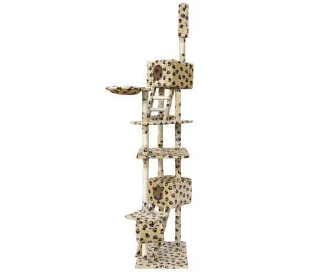 Cat Tree Scratching Post 230-260 cm 2 Houses Beige with Paw Prints[2/4]