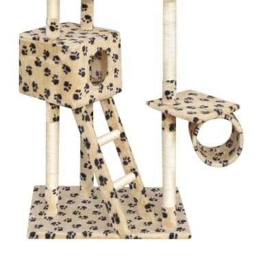Cat Tree Scratching Post 230-260 cm 2 Houses Beige with Paw Prints[3/4]