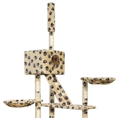 Cat Tree Scratching Post 230-260 cm 2 Houses Beige with Paw Prints[4/4]