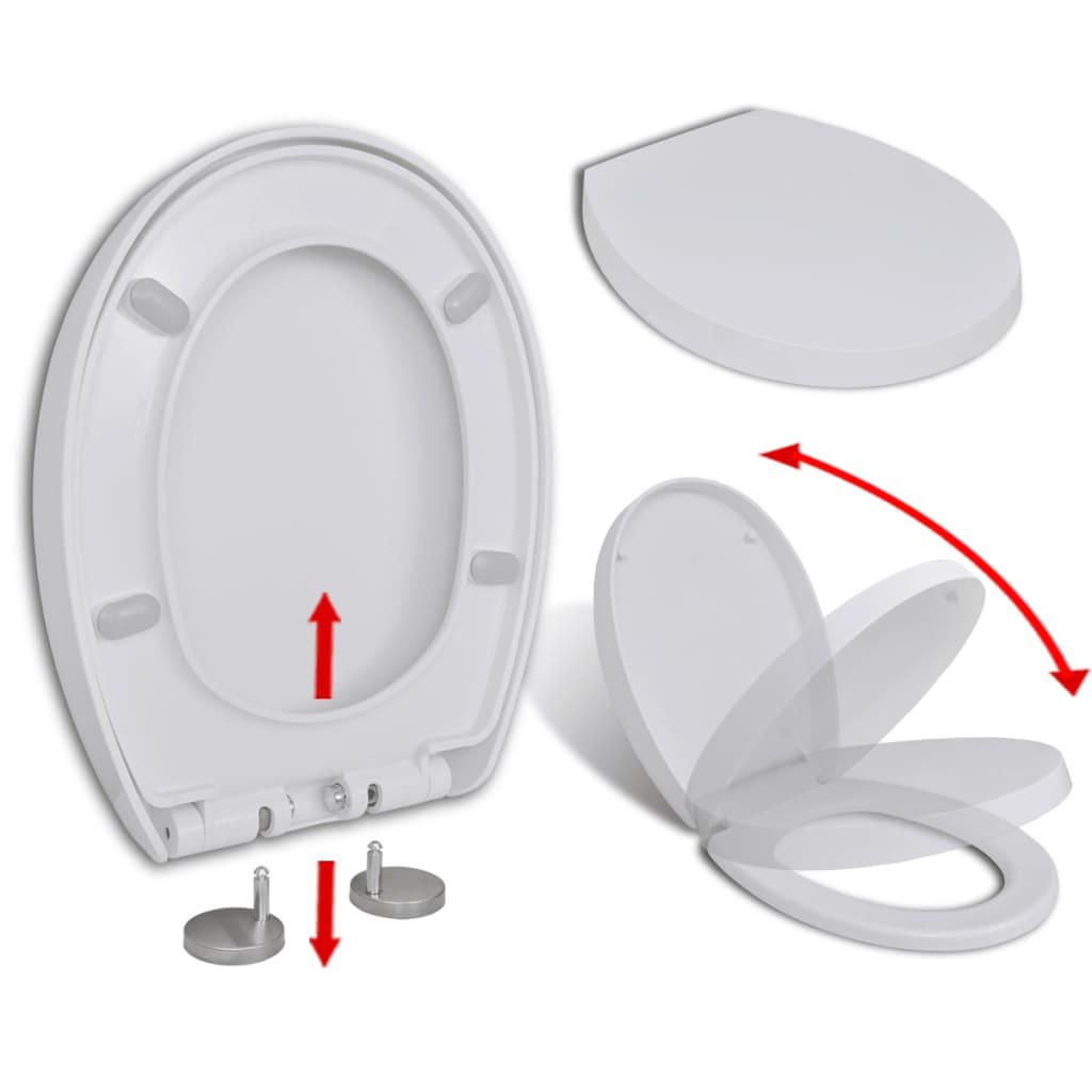 vidaXL Capac WC cu închidere silențioasă, demontare rapidă, alb, oval vidaxl.ro