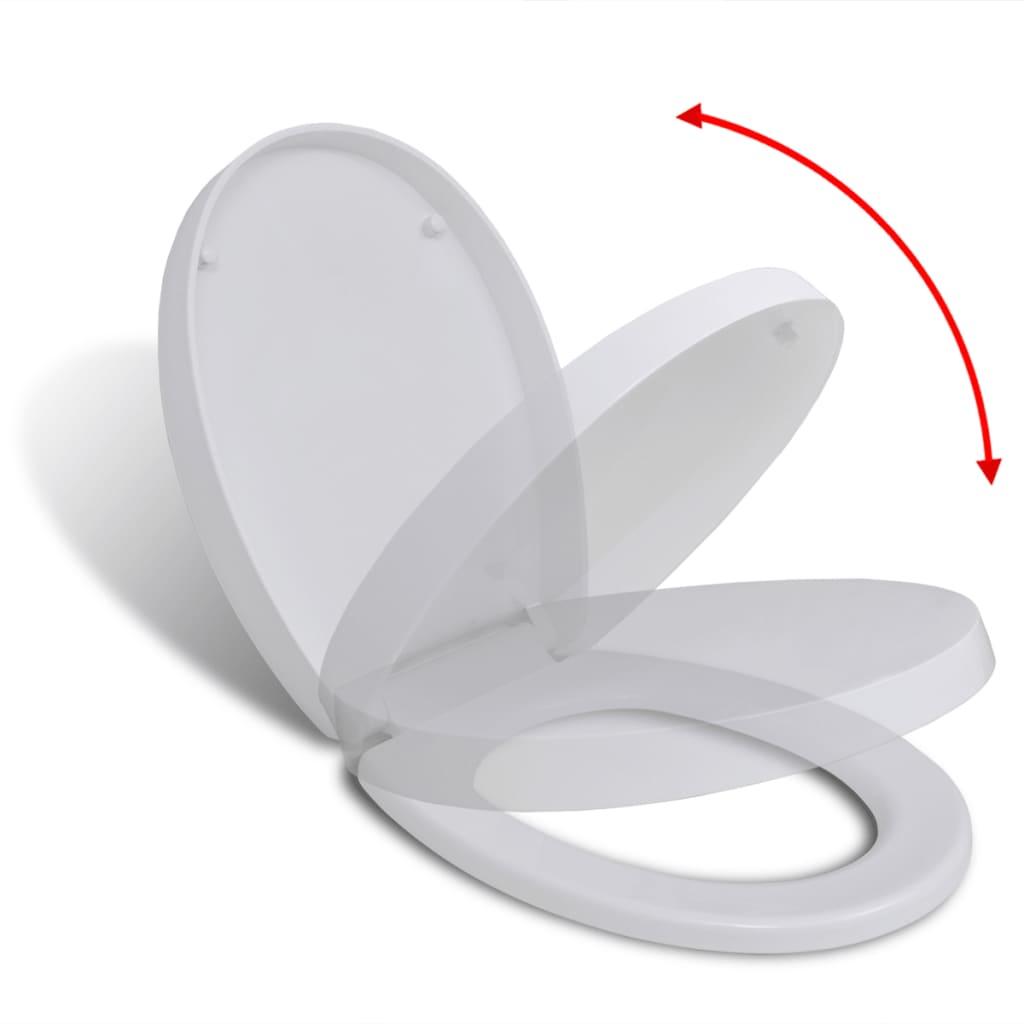 vidaXL Toiletbril soft-close quick-release design ovaal wit
