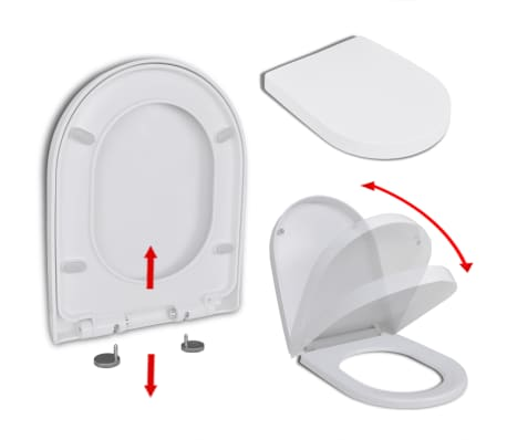 vidaXL Soft-close Toilet Seat with Quick-release Design White Square