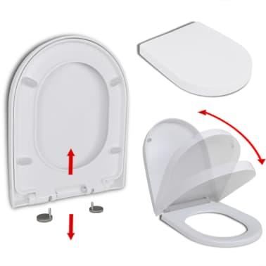 vidaXL Toalettsete med soft-close og hurtigfeste hvit firkantet[1/8]