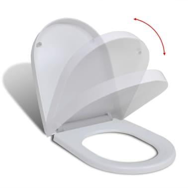 vidaXL Toalettsete med soft-close og hurtigfeste hvit firkantet[2/8]