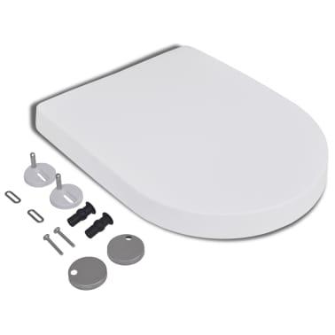 vidaXL Toalettsete med soft-close og hurtigfeste hvit firkantet[3/8]