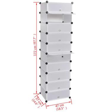 schuhregal schuhschrank mit 10 f chern 47 x 37 x 172 cm wei zum schn ppchenpreis. Black Bedroom Furniture Sets. Home Design Ideas