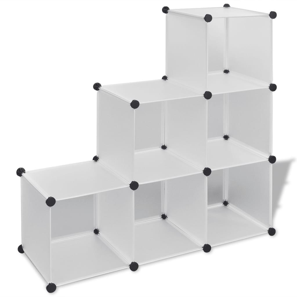 Bílé úložné skříňky Kostka s 6 přihrádkami