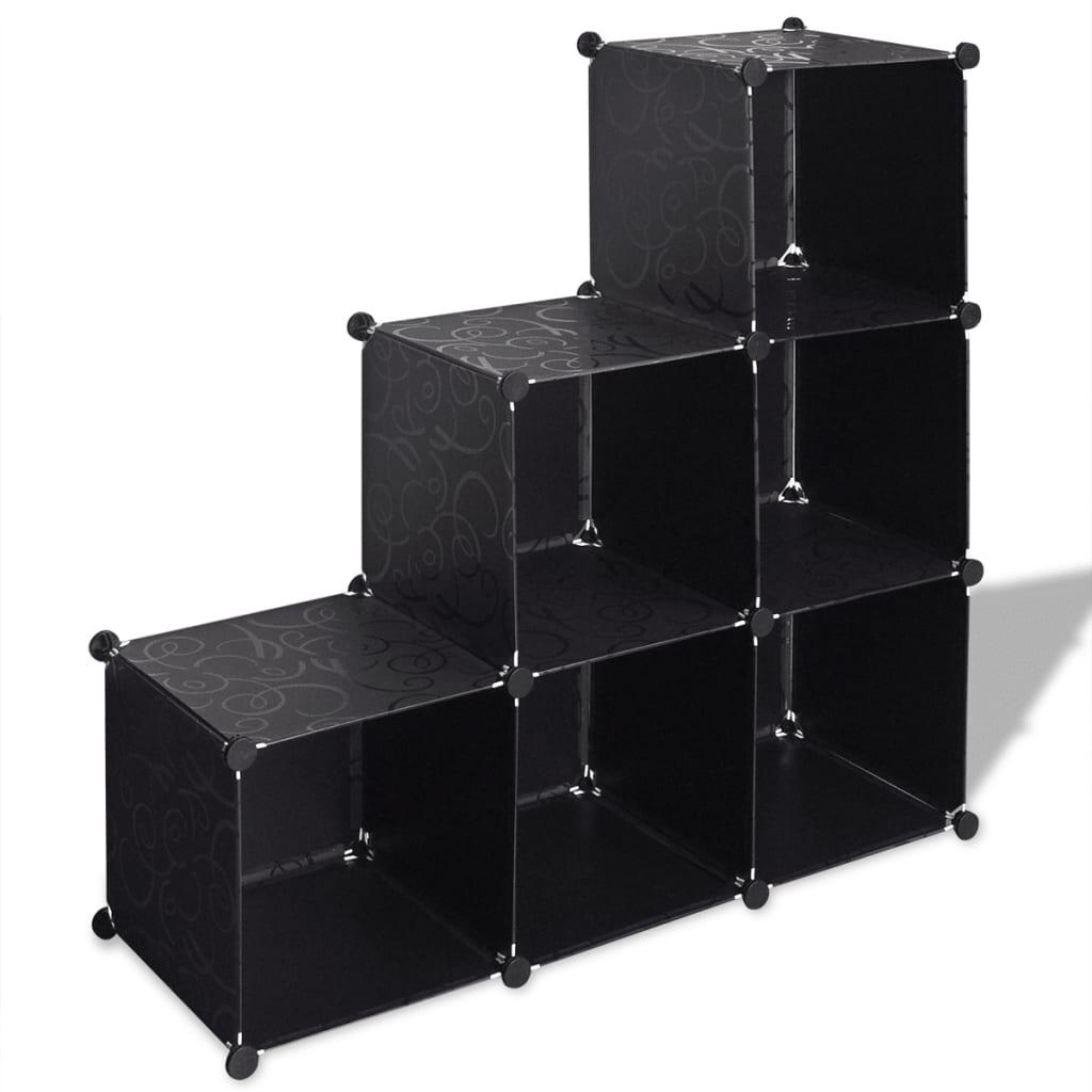Černé úložné skříňky Kostka s 6 přihrádkami