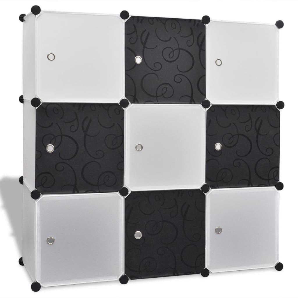Černobílé úložné skříňky Kostka s 9 přihrádkami