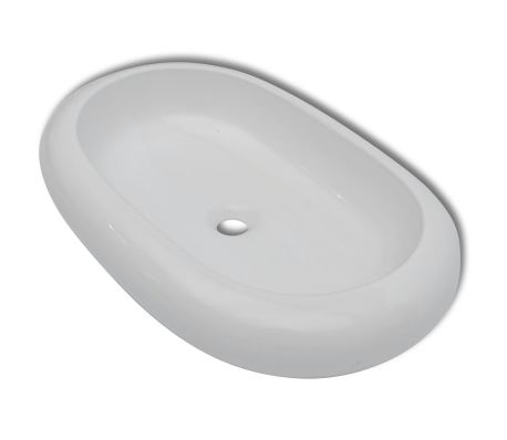 "Luxury Ceramic Basin Oval-shaped Sink White 24.8"" x 16.5"""
