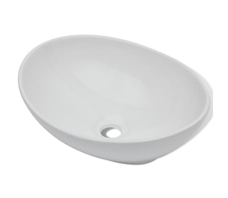 "Luxury Ceramic Basin Oval-shaped Sink White 15.7"" x 13""[2/6]"
