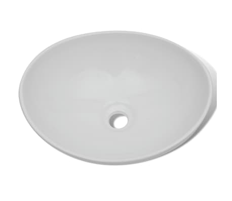 "Luxury Ceramic Basin Oval-shaped Sink White 15.7"" x 13""[3/6]"
