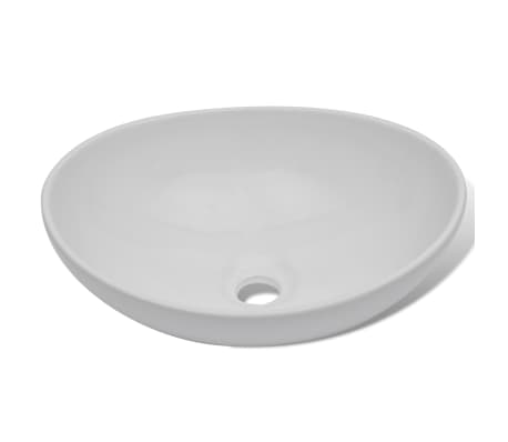 "Luxury Ceramic Basin Oval-shaped Sink White 15.7"" x 13""[4/6]"
