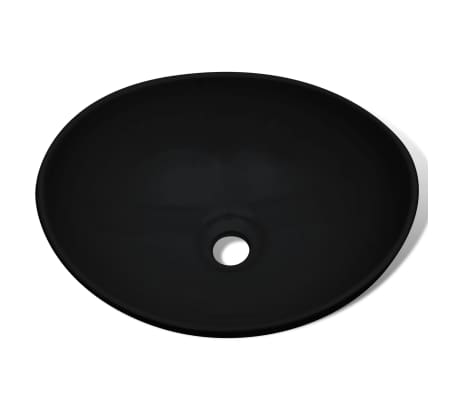 "Luxury Ceramic Basin Oval-shaped Sink Black 15.7"" x 13""[3/6]"