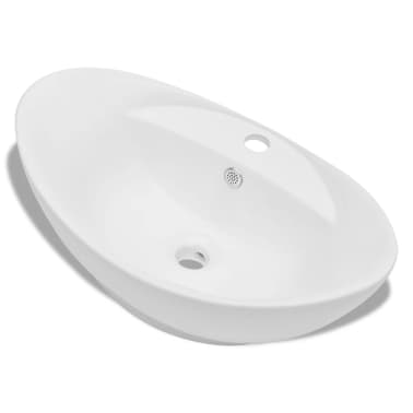Luxury Ceramic Basin Oval with Overflow and Faucet Hole[2/7]