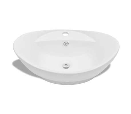 Luxury Ceramic Basin Oval with Overflow and Faucet Hole[3/7]