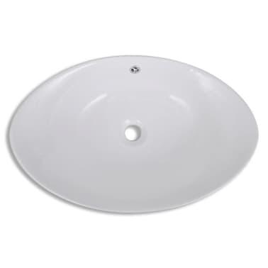 """Luxury Ceramic Basin Oval with Overflow 23.2"""" x 15.1""""[4/7]"""