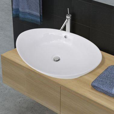 """Luxury Ceramic Basin Oval with Overflow 23.2"""" x 15.1""""[1/7]"""