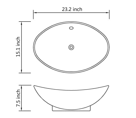 "Black Luxury Ceramic Basin Oval with Overflow 23.2"" x 15.1""[7/7]"