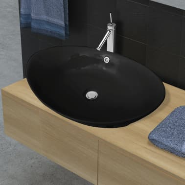 "Black Luxury Ceramic Basin Oval with Overflow 23.2"" x 15.1""[1/7]"