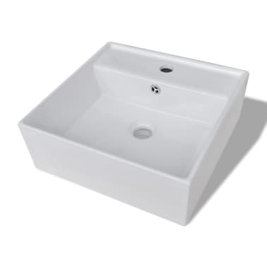 "Luxury Ceramic Basin Square with Overflow and Faucet Hole 16.1""x16.1""[2/8]"