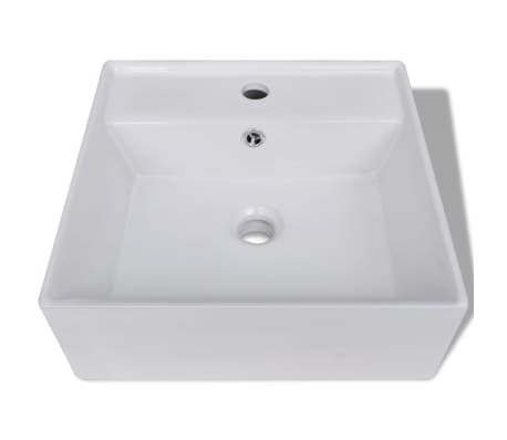 "Luxury Ceramic Basin Square with Overflow and Faucet Hole 16.1""x16.1""[3/8]"