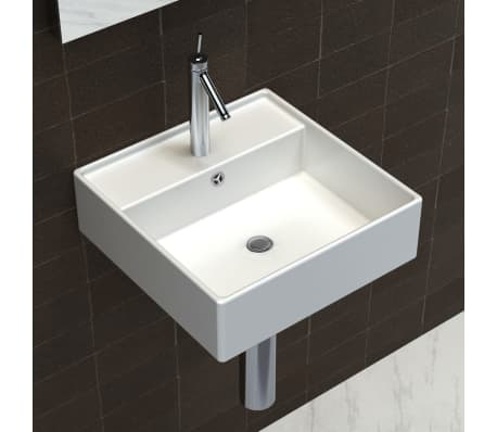 "Luxury Ceramic Basin Square with Overflow and Faucet Hole 16.1""x16.1""[4/8]"
