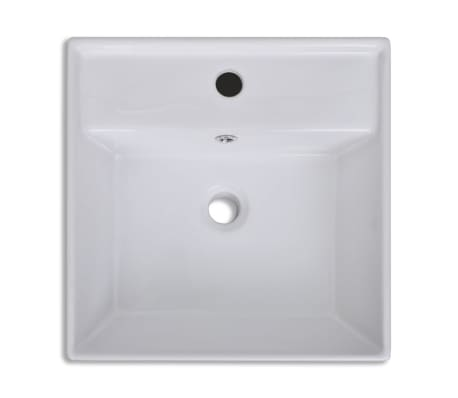 "Luxury Ceramic Basin Square with Overflow and Faucet Hole 16.1""x16.1""[5/8]"