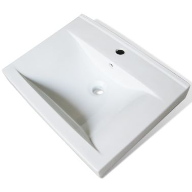 """Ceramic Basin Rectangular Sink White with Faucet Hole 23.6"""" x 18.1""""[2/6]"""
