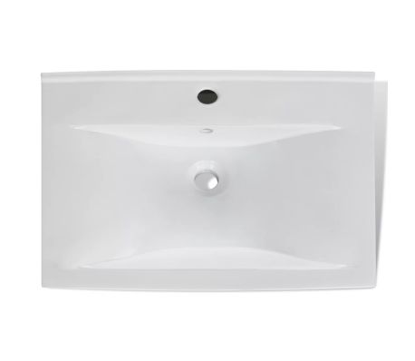 """Ceramic Basin Rectangular Sink White with Faucet Hole 23.6"""" x 18.1""""[4/6]"""