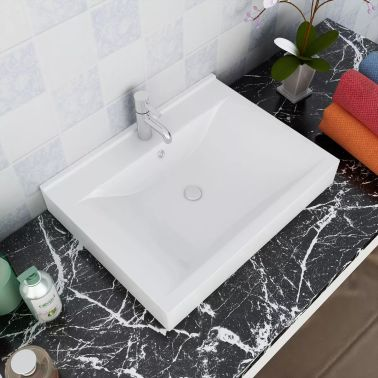 """Ceramic Basin Rectangular Sink White with Faucet Hole 23.6"""" x 18.1""""[1/6]"""