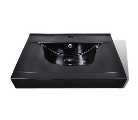 "Ceramic Basin Rectangular Sink Black with Faucet Hole 23.6"" x 18.1""[3/6]"