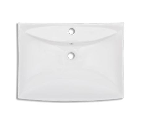 Luxury Ceramic Basin Rectangular with Overflow and Faucet Hole[6/8]