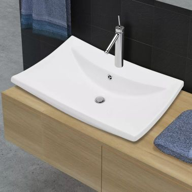 Luxury Ceramic Basin Rectangular with Overflow and Faucet Hole[4/8]