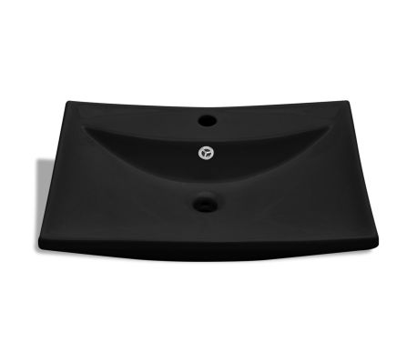 Black Luxury Ceramic Basin Rectangular with Overflow and Faucet Hole[4/8]
