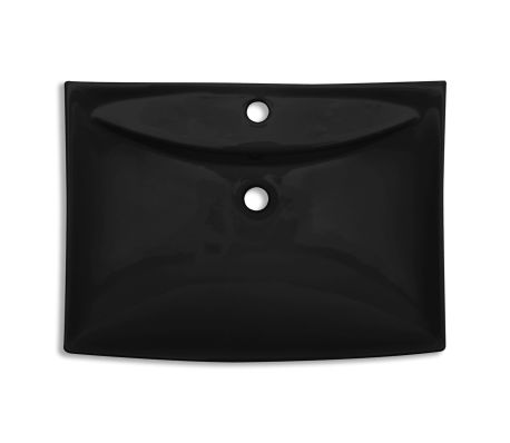 Black Luxury Ceramic Basin Rectangular with Overflow and Faucet Hole[7/8]