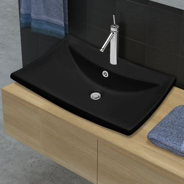 Black Luxury Ceramic Basin Rectangular with Overflow and Faucet Hole[3/8]