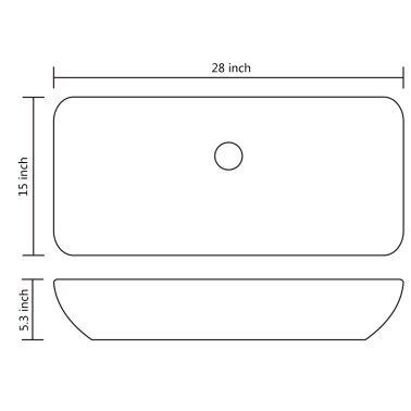 "Luxury Ceramic Basin Rectangular Sink White 28"" x 15""[6/6]"