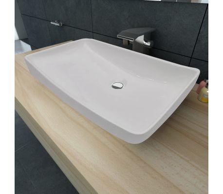 "Luxury Ceramic Basin Rectangular Sink White 28"" x 15""[1/6]"