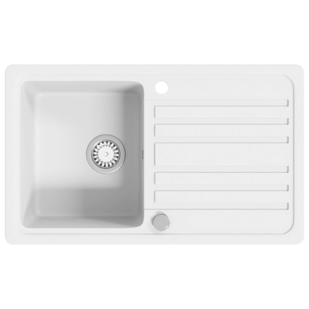 Žulový kuchyňský dřez single s odkapávačem reverzibilní krémová bílá