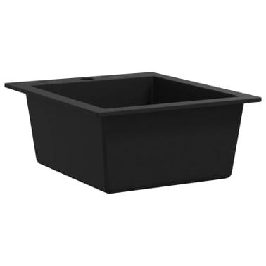 vidaXL Vgradno kuhinjsko korito enojno granit črne barve[3/3]
