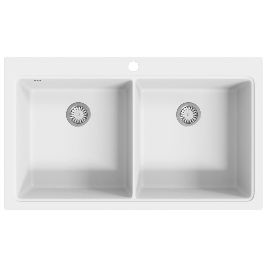 99141677 Granitspüle Doppelbecken Cremeweiß