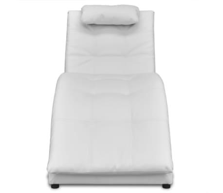 vidaXL Șezlong cu saltea, piele artificială, alb[2/6]