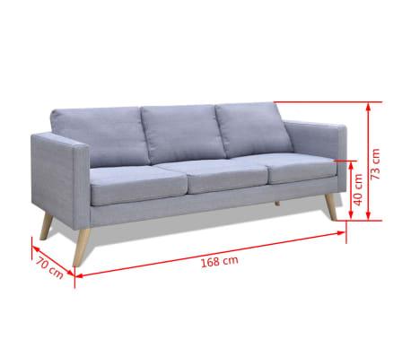 Vidaxl Sofa 3 Seater Fabric Light Grey