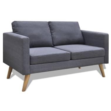 Vidaxl Sofa 2 Seater Fabric Dark Grey 1 5