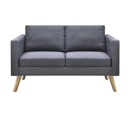 vidaXL Sofa 2-Seater Fabric Dark Grey[3/5]