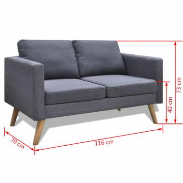 vidaXL Sofa 2-Seater Fabric Dark Grey[5/5]