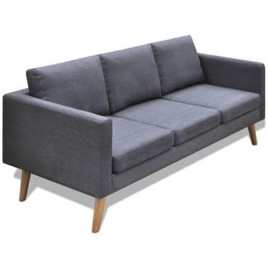 vidaXL Sofa 3-Seater Fabric Dark Grey[1/5]