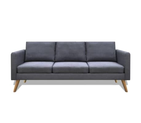 vidaXL Sofa 3-Seater Fabric Dark Grey[2/5]