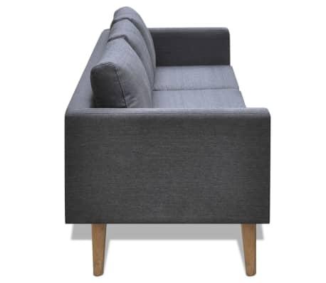 vidaXL Sofa 3-Seater Fabric Dark Grey[3/5]